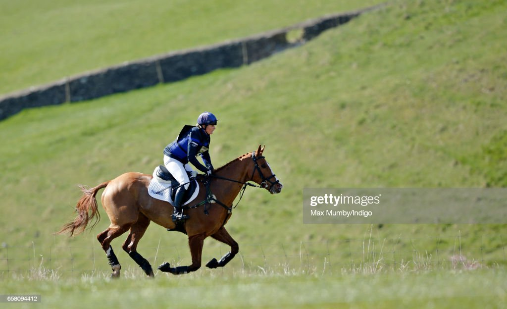 Zara Phillips competes on her horse 'Fernhill FaceTime' in the cross country phase of the Gatcombe Horse Trials at Gatcombe Park on March 26, 2017 in Stroud, England.