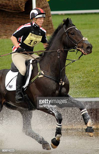 Zara Phillips completes on Glenbuck at the water jump on the third day of the Badminton Horse Trials on May 3 2008 in Badminton England