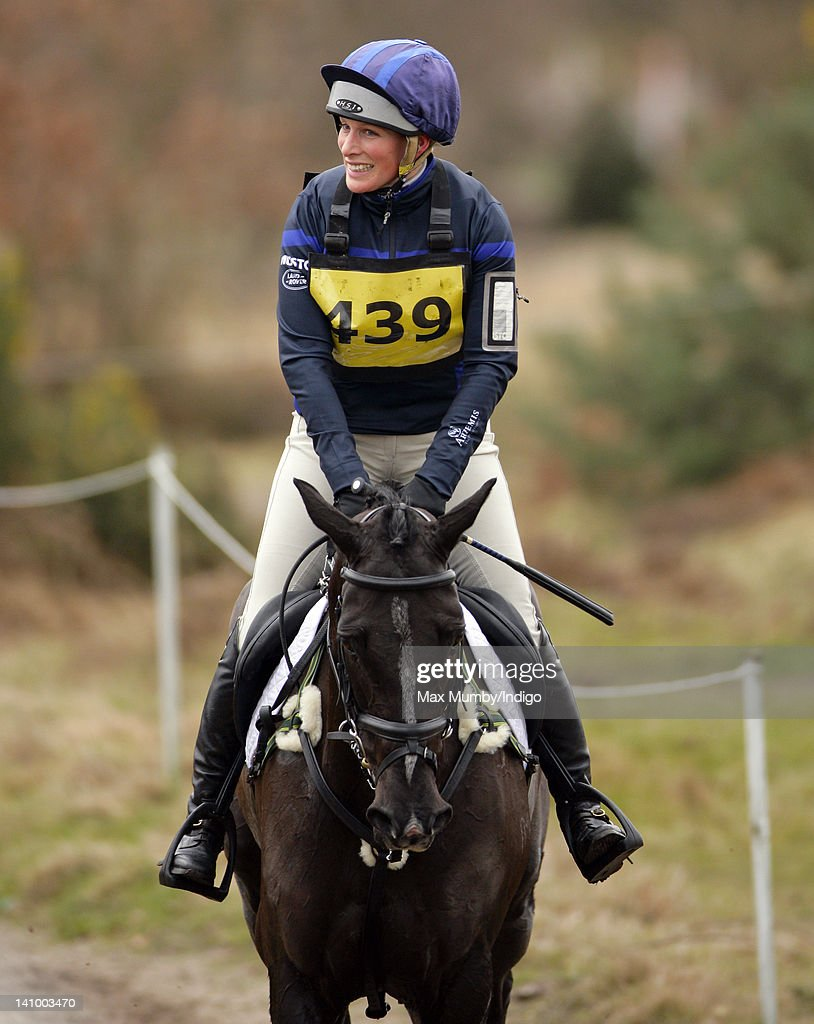 <a gi-track='captionPersonalityLinkClicked' href=/galleries/search?phrase=Zara+Phillips&family=editorial&specificpeople=161323 ng-click='$event.stopPropagation()'>Zara Phillips</a> completes on her horse 'Black Tuxedo' in the cross country phase of the Tweseldown Horse Trialsat Tweseldown Racecourse on March 9, 2012 in Fleet, England.