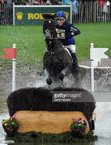 Zara Phillips completes the water jump on her horse Glenbuck on day 3 of the Badminton Horse Trials on May 2 2010 in Badminton England