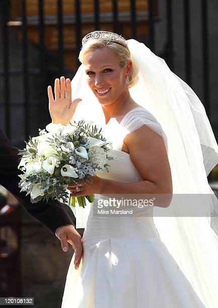 Zara Phillips departs for the Royal wedding of Zara Phillips and Mike Tindall at Canongate Kirk on July 30 2011 in Edinburgh Scotland The Queen's...