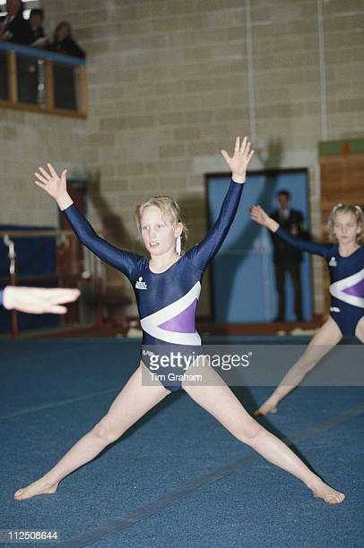 Zara Phillips during a gymnastics display at her school Port Regis school in Shaftesbury Dorset England Great Britain 23 February 1991 Zara the...