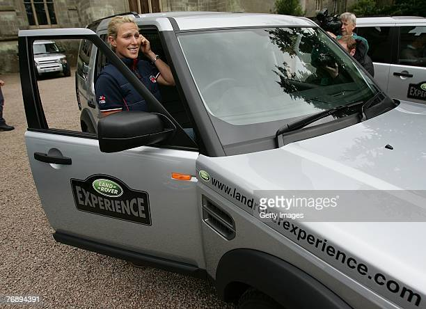 Zara Phillips gets into a Land Rover during the Land Rover British Eventing OffRoading Day at Eastnor Castle on September 19 2007 in Eastnor England