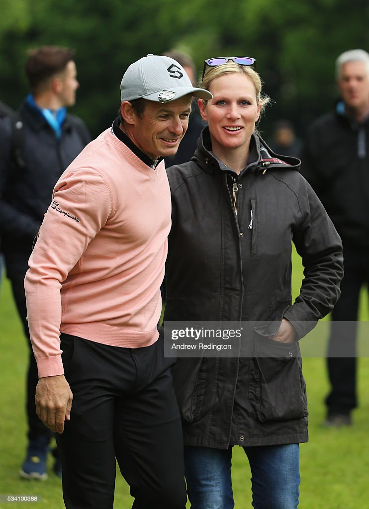 Zara Phillips greets Austin Healey during the Pro-Am prior to the BMW PGA Championship at Wentworth on May 25, 2016 in Virginia Water, England.