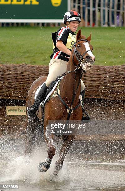 Zara Phillips in action at the water jump on her horse Ardfield Magic Star on the third day of the Badminton Horse Trials on May 3 2008 in Badminton...