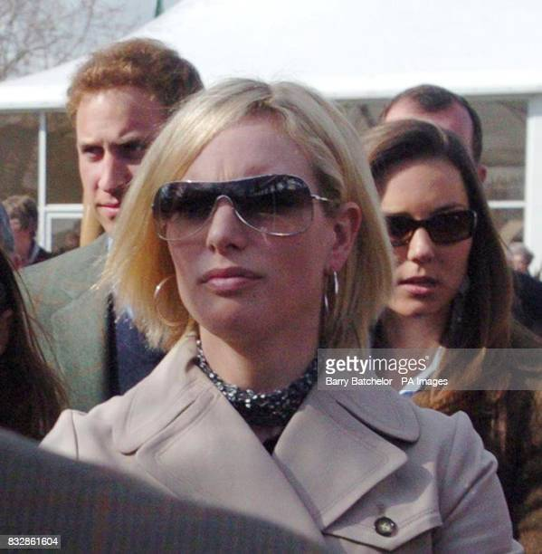 Zara Phillips is followed by Prince William and Kate Middleton as they arrive for the first day of the Cheltenham Festival