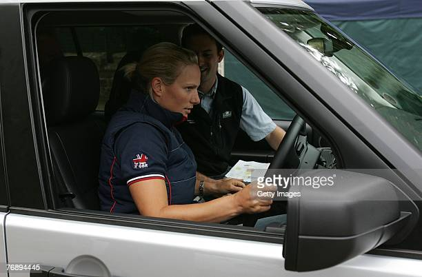 Zara Phillips is shown some of the equipment during the Land Rover British Eventing OffRoading Day at Eastnor Castle on September 19 2007 in Eastnor...