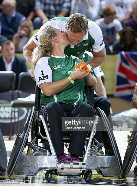 Zara Phillips kisses Johnny Wilkinson during an Exhibition wheelchair rugby match at the Copper Box ahead of tonight's exhibition match as part of...