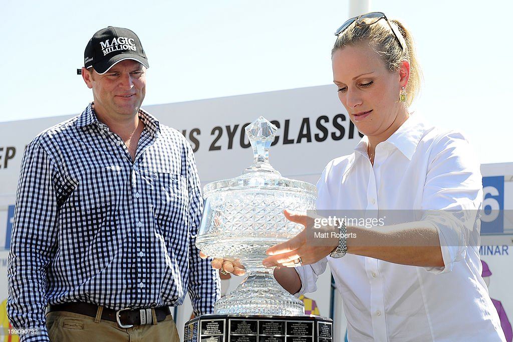 Zara Phillips lifts the trophy during the Magic Millions Barrier Draw on January 8, 2013 in Surfers Paradise, Australia.