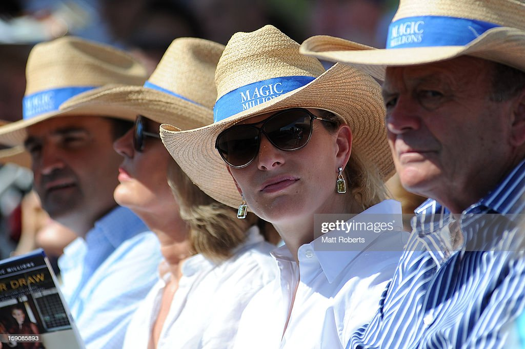 <a gi-track='captionPersonalityLinkClicked' href=/galleries/search?phrase=Zara+Phillips&family=editorial&specificpeople=161323 ng-click='$event.stopPropagation()'>Zara Phillips</a> looks on during the Magic Millions Barrier Draw on January 8, 2013 in Surfers Paradise, Australia.