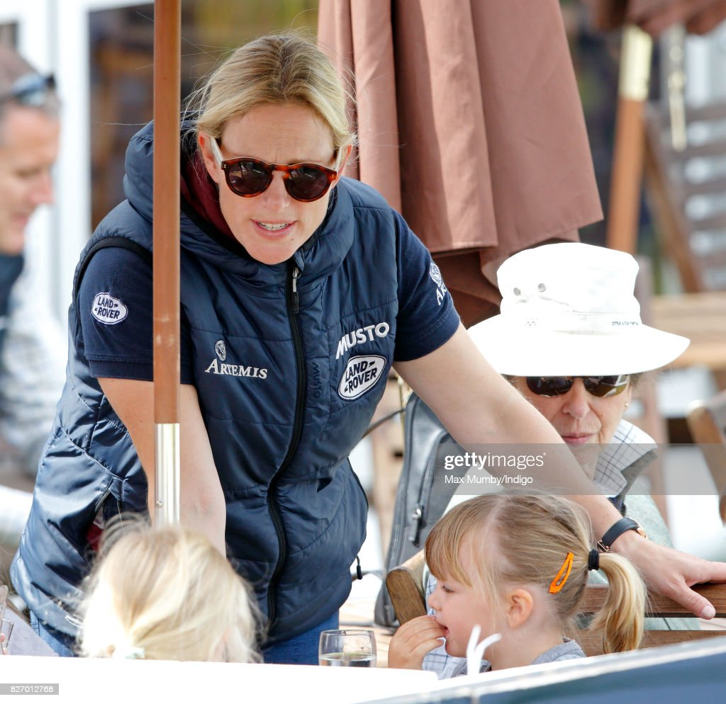 Zara Phillips, Mia Tindall and Princess Anne, The Princess Royal attend day 3 of the Festival of British Eventing at Gatcombe Park on August 6, 2017 in Stroud, England.