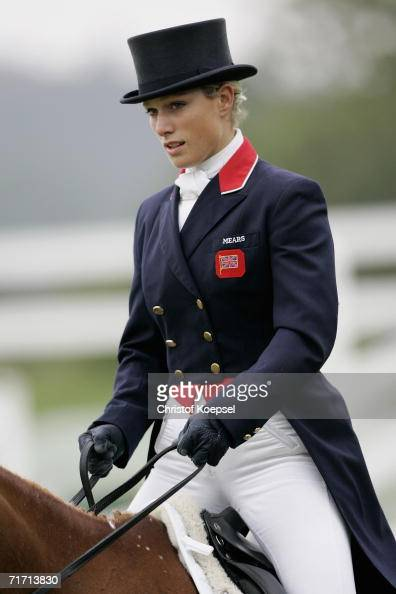 Zara Phillips of Great Britain on Toy Town looks on after her presentation during the World Individual Team Eventing Championships in the Dressage...