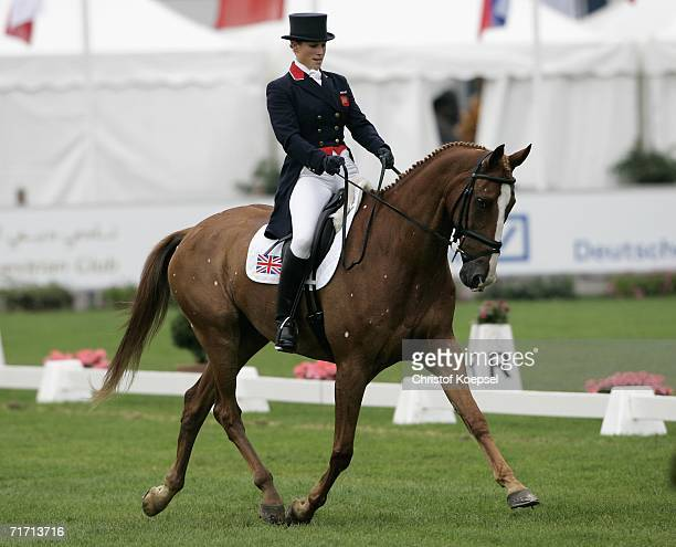 Zara Phillips of Great Britain rides on Toy Town during the World Individual Team Eventing Championships int the Dressage discipline at the World...