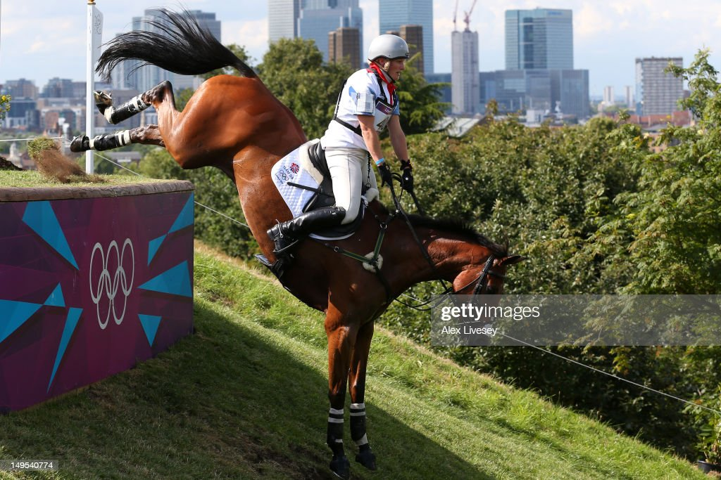 Zara Phillips of Great Britain riding High Kingdom negotiates an obstacle in the Eventing Cross Country Equestrian event on Day 3 of the London 2012 Olympic Games at Greenwich Park on July 30, 2012 in London, England.