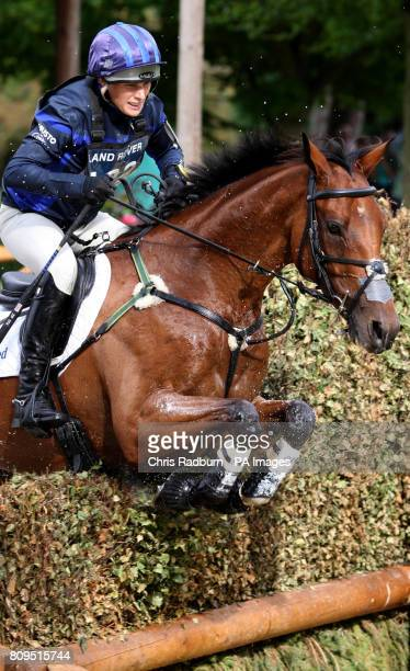 Zara Phillips on board High Kingdom as they pass through the Trout Hatchery during The Land Rover Burghley Horse Trials Stamford