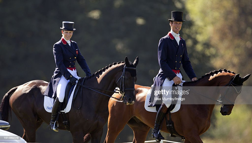 <a gi-track='captionPersonalityLinkClicked' href=/galleries/search?phrase=Zara+Phillips&family=editorial&specificpeople=161323 ng-click='$event.stopPropagation()'>Zara Phillips</a>, on her horse 'Black Tuxedo', rides alongside <a gi-track='captionPersonalityLinkClicked' href=/galleries/search?phrase=William+Fox-Pitt&family=editorial&specificpeople=647065 ng-click='$event.stopPropagation()'>William Fox-Pitt</a> as she prepares to compete in the dressage phase of the Blenheim Palace International Horse Trials at Blenheim Palace on September 7, 2012 in Woodstock, England.