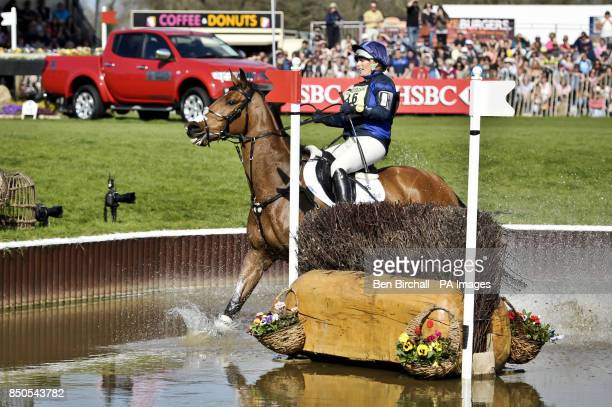 Zara Phillips on High Kingdom completely misses the second of two brush jumps in the Lake while taking part in the CrossCountry during day four of...