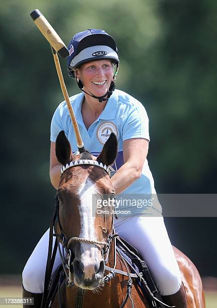 Zara Phillips plays in a charity polo match as she attends The Rundle Cup at Tidworth Polo Club on July 13 2013 in Tidworth England