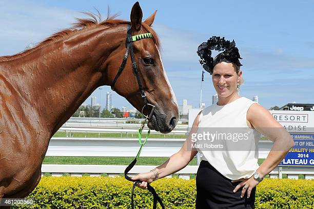 Zara Phillips poses with horse for the Magic Millions Race Day media call at Gold Coast Racecourse on January 9 2015 on the Gold Coast Australia