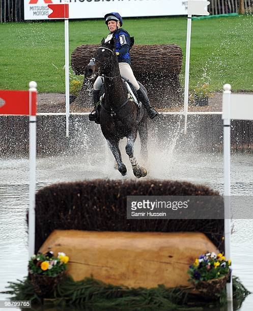Zara Phillips prepares to completes the water jump on her horse Glenbuck on day 3 of the Badminton Horse Trials on May 2 2010 in Badminton England