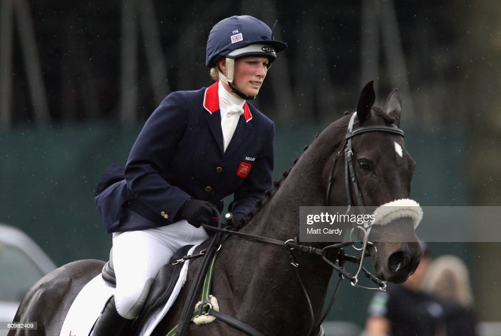 Zara Phillips rides Glenbuck as she warms up for the show jumping during the Badminton Horse Trials on May 4 2008 in Badminton, England. Reigning world champion Zara Phillips rode Glenbuck and Ardfield Magic Star at the event - as the British equestrian team looks to finalise their 2008 Olympics squad. The event started with two days of dressage then went into cross country before finishing with the jumping test on today.