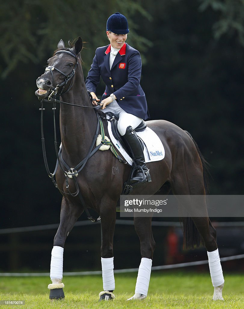 <a gi-track='captionPersonalityLinkClicked' href=/galleries/search?phrase=Zara+Phillips&family=editorial&specificpeople=161323 ng-click='$event.stopPropagation()'>Zara Phillips</a> rides her horse Black Tuxedo before she and her fellow London 2012 Olympic team eventing silver medal winners parade at the Blenheim Palace International Horse Trials on September 9, 2012 in Woodstock, England.