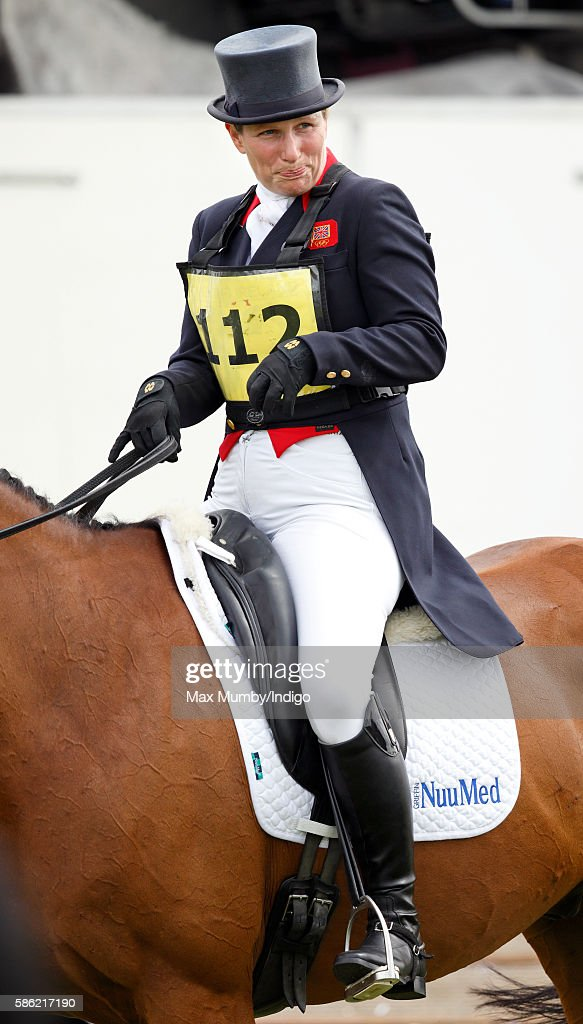 Zara Phillips rides High Kingdom after competing in the dressage phase of the Festival of British Eventing at Gatcombe Park on August 5, 2016 in Stroud, England.