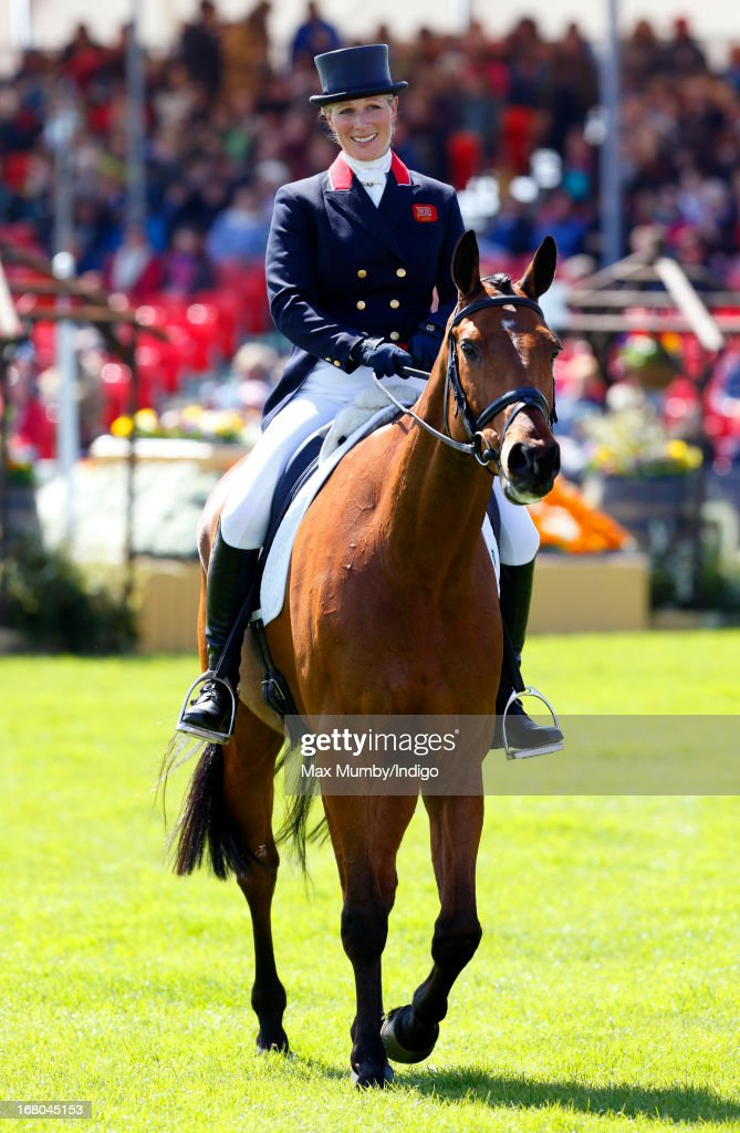 <a gi-track='captionPersonalityLinkClicked' href=/galleries/search?phrase=Zara+Phillips&family=editorial&specificpeople=161323 ng-click='$event.stopPropagation()'>Zara Phillips</a> rides out of the arena, on her horse High Kingdom, after competing in the dressage phase of the Badminton Horse Trials on May 4, 2013 in Badminton, England.