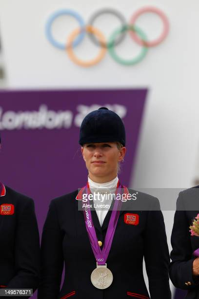 Zara Phillips riding High Kingdom poses with her silver medal after the Eventing Team Jumping Final Equestrian event on Day 4 of the London 2012...