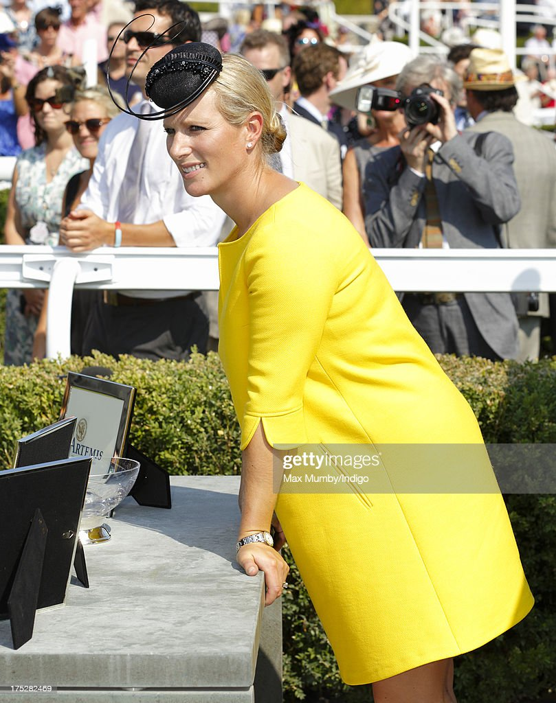 Zara Phillips seen before presenting the trophy to the winner of the Artemis Goodwood Cup on Ladies Day of Glorious Goodwood at Goodwood Racecourse on August 1, 2013 in Chichester, England.