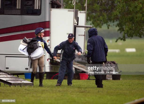 Zara Phillips shares a joke with World Class Performance Manager and Chef d'Equipe to the British Eventing team Yogi Breisner at the Symm...