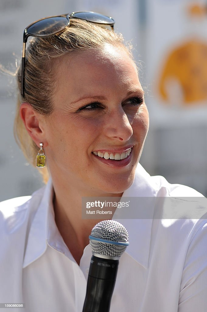 Zara Phillips speaks to media representatives during the Magic Millions Barrier Draw on January 8, 2013 in Surfers Paradise, Australia.