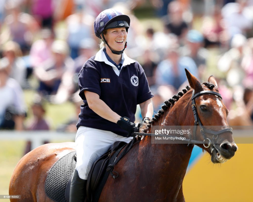 Zara Phillips takes part in the Jockeys v Eventers JCB Champions Challenge in aid of the Injured Jockeys Fund at the Barbury International Horse Trials on July 8, 2017 in Marlborough, England.