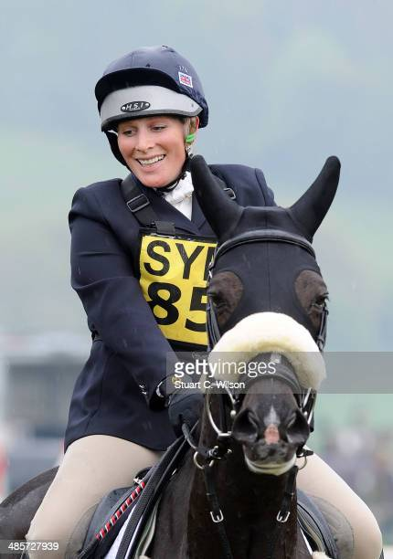 Zara Phillips takes part in the Show Jumping event during the Symm International horse trials on April 20 2014 in Hambleden England