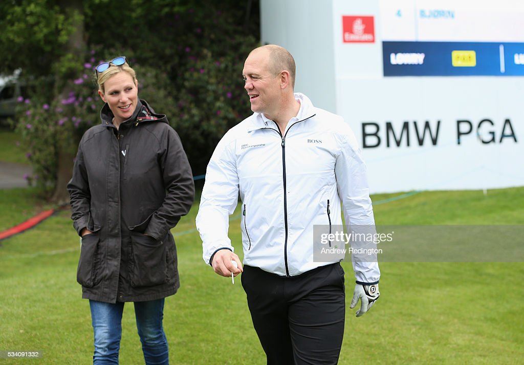 <a gi-track='captionPersonalityLinkClicked' href=/galleries/search?phrase=Zara+Phillips&family=editorial&specificpeople=161323 ng-click='$event.stopPropagation()'>Zara Phillips</a> (L) talks with husband <a gi-track='captionPersonalityLinkClicked' href=/galleries/search?phrase=Mike+Tindall&family=editorial&specificpeople=204210 ng-click='$event.stopPropagation()'>Mike Tindall</a> during the Pro-Am prior to the BMW PGA Championship at Wentworth on May 25, 2016 in Virginia Water, England.