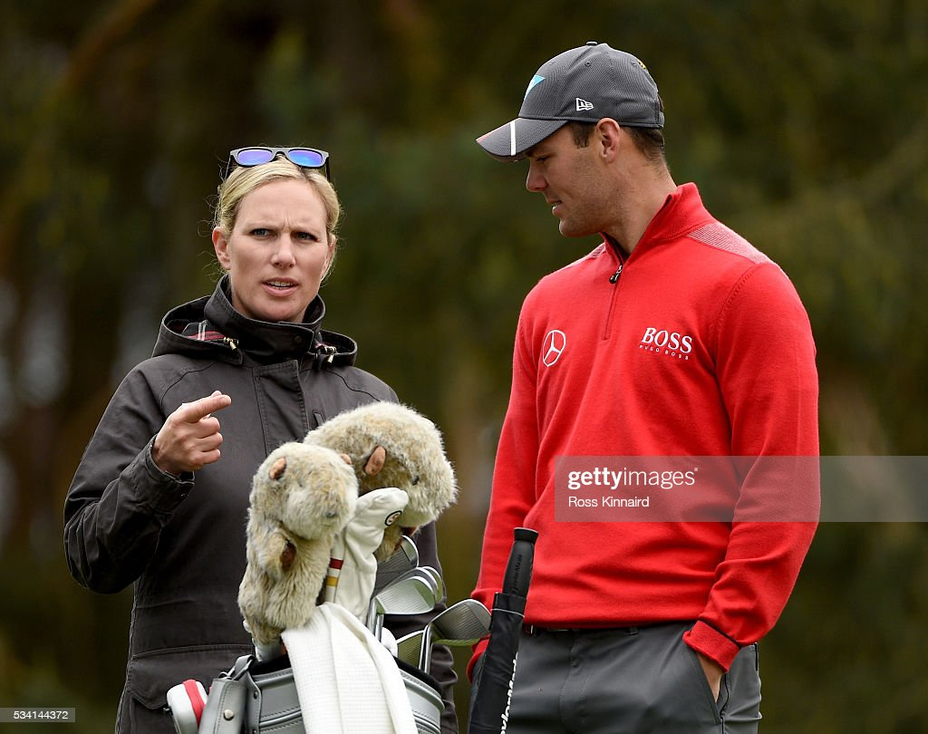 Zara Phillips talks with Martin Kaymer of Germany during the Pro-Am prior to the BMW PGA Championship at Wentworth on May 25, 2016 in Virginia Water, England.