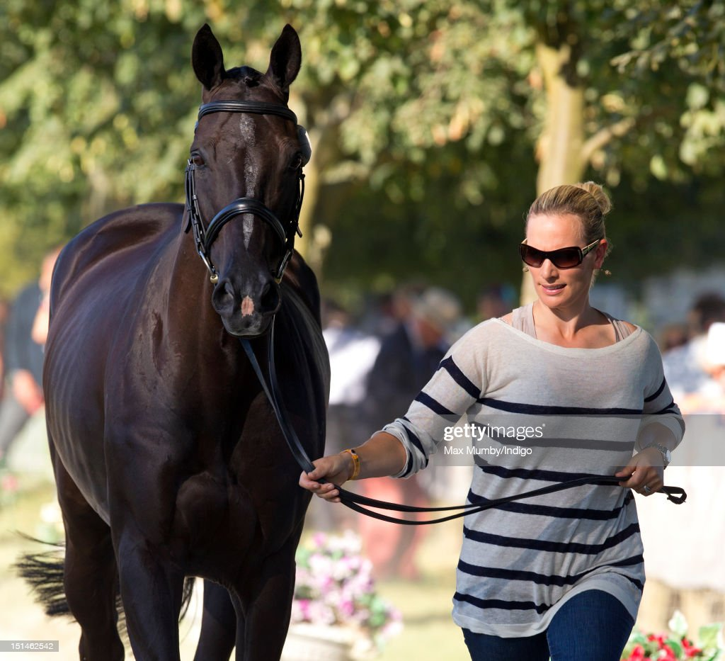 Zara Phillips trots up her horse 'Black Tuxedo' during the horse inspection at the Blenheim Palace International Horse Trials at Blenheim Palace on September 7, 2012 in Woodstock, England.