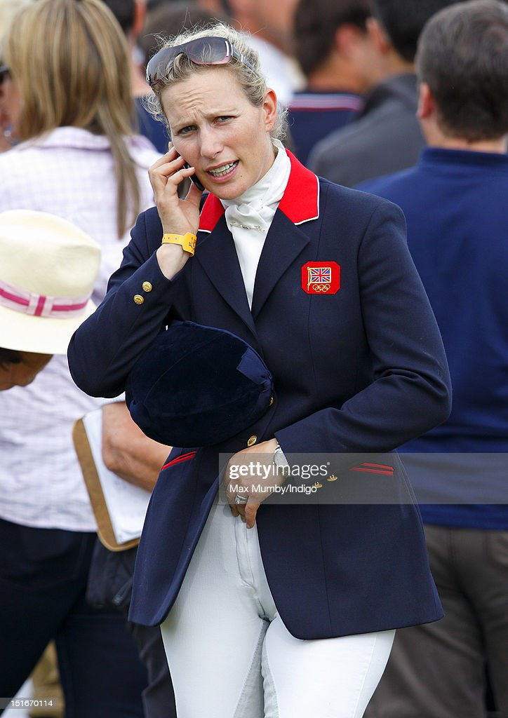 Zara Phillips uses a mobile telephone as she attends the the Blenheim Palace International Horse Trials at Blenheim Palace on September 9, 2012 in Woodstock, England.