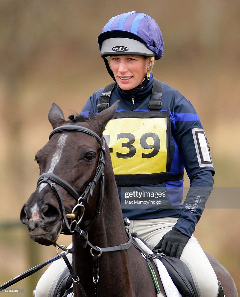 Zara Phillips warms up on her horse 'Black Tuxedo' prior to competing the cross country phase of the Tweseldown Horse Trials at Tweseldown Racecourse on March 9, 2012 in Fleet, England.