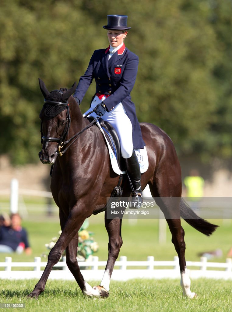 <a gi-track='captionPersonalityLinkClicked' href=/galleries/search?phrase=Zara+Phillips&family=editorial&specificpeople=161323 ng-click='$event.stopPropagation()'>Zara Phillips</a> warms up on her horse 'Black Tuxedo' prior to competing in the dressage phase of the Blenheim Palace International Horse Trials at Blenheim Palace on September 7, 2012 in Woodstock, England.