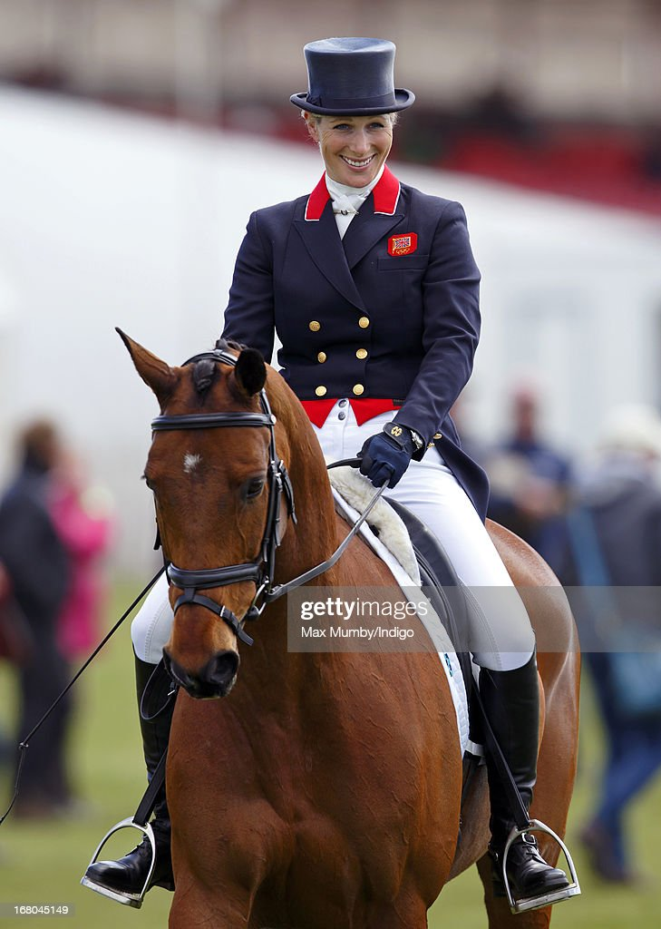 <a gi-track='captionPersonalityLinkClicked' href=/galleries/search?phrase=Zara+Phillips&family=editorial&specificpeople=161323 ng-click='$event.stopPropagation()'>Zara Phillips</a> warms up on her horse High Kingdom prior to competing in the dressage phase of the Badminton Horse Trials on May 4, 2013 in Badminton, England.
