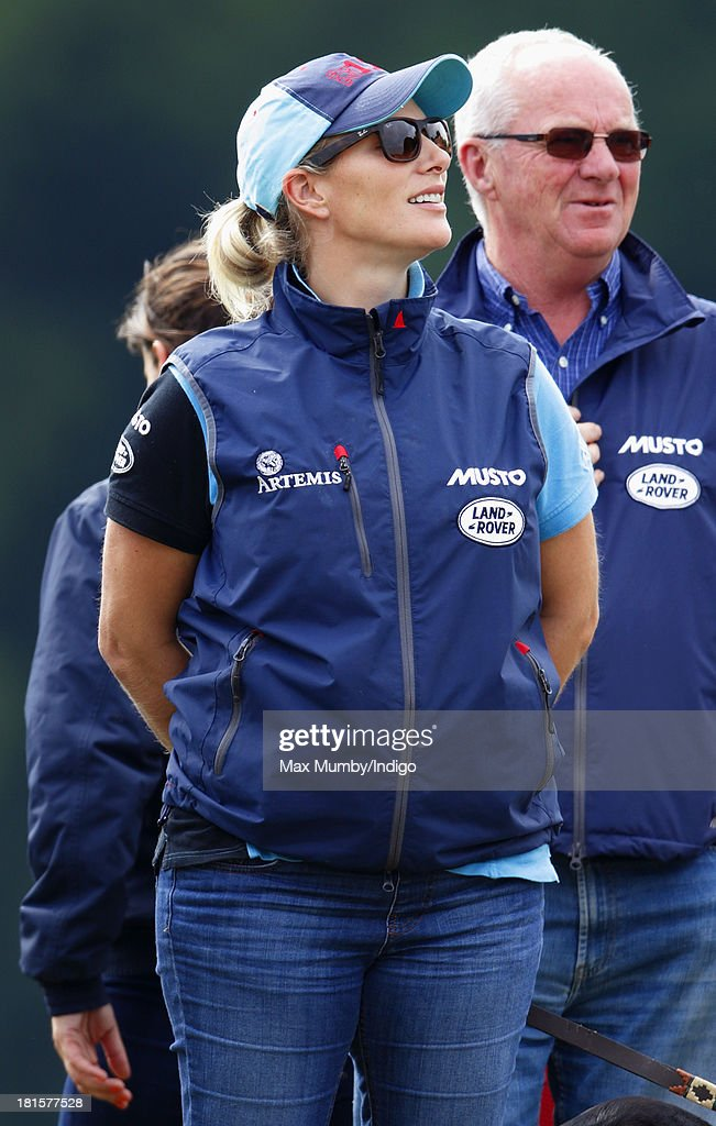 <a gi-track='captionPersonalityLinkClicked' href=/galleries/search?phrase=Zara+Phillips&family=editorial&specificpeople=161323 ng-click='$event.stopPropagation()'>Zara Phillips</a> watches her horse 'Silver Lining V' being ridden in the cross country phase of the Gatcombe Horse Trials at Gatcombe Park, Minchinhampton on September 22, 2013 in Stroud, England.