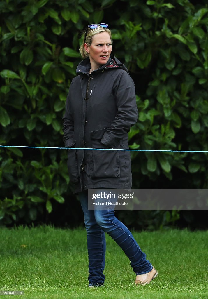 Zara Phillips watches husband Mike Tindall during the Pro-Am prior to the BMW PGA Championship at Wentworth on May 25, 2016 in Virginia Water, England.