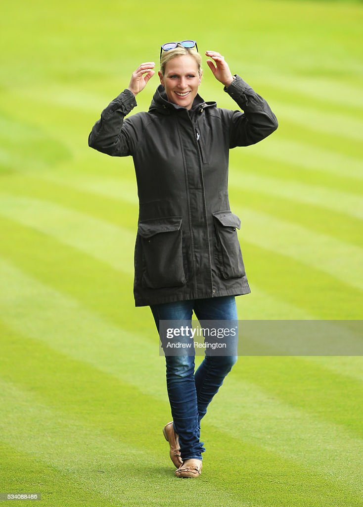 <a gi-track='captionPersonalityLinkClicked' href=/galleries/search?phrase=Zara+Phillips&family=editorial&specificpeople=161323 ng-click='$event.stopPropagation()'>Zara Phillips</a> watches husband Mike Tindall during the Pro-Am prior to the BMW PGA Championship at Wentworth on May 25, 2016 in Virginia Water, England.