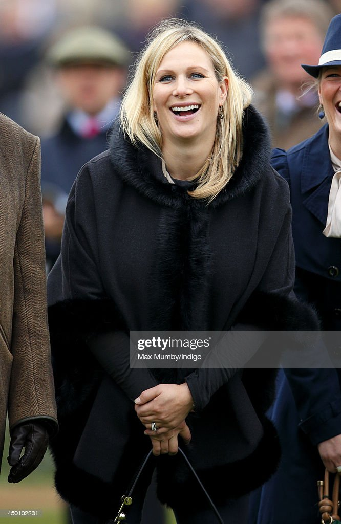 Zara Phillips watches the Paddy Power Gold Cup Steeple Chase at Cheltenham Racecourse on November 16, 2013 in Cheltenham, England.