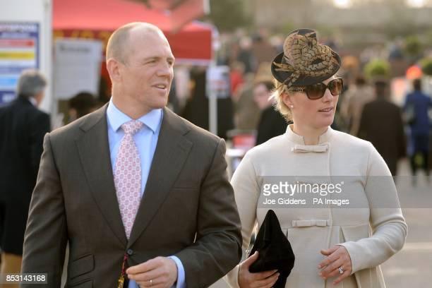 Zara Phillips with her husband Mike Tindall at Cheltenham Racecourse Cheltenham
