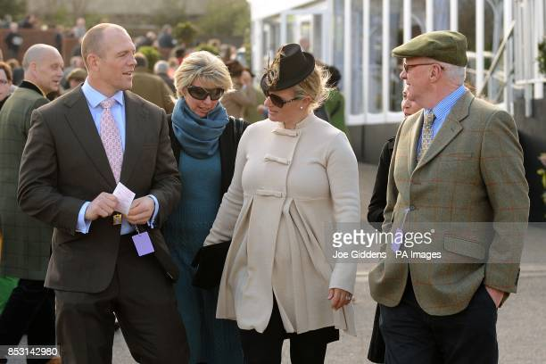 Zara Phillips with her husband Mike Tindall during Champion Day at Cheltenham Racecourse Cheltenham