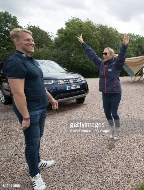 Zara Tindall and Lewis Moody try out the Jaguar Land Rover Driving Challenge at the Land Rover Experience at Eastnor Castle part of the UK Team's...