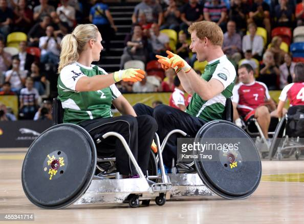 Zara Tindall and Prince Harry in action today during an exhibition match of wheelchair rugby at the Invictus Games at Copperbox Queen Elizabeth Park...