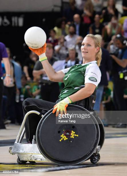 Zara Tindall in action today during an exhibition match of wheelchair rugby at the Invictus Games at Copperbox Queen Elizabeth Park on September 12...